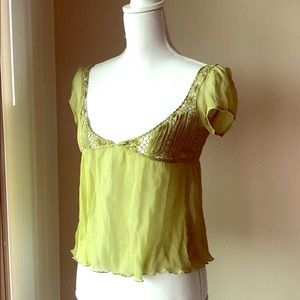 Guess Jeans Lime Green Silk Babydoll Top